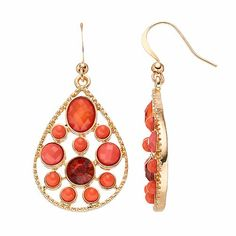 Peach Stone Nickel Free Teardrop Earrings  7.99