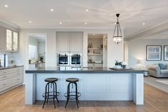 New Home Designs To Build In Melbourne Kitchen Diner Lounge, Storey Homes, Hamptons House, Islamic Architecture, New Home Designs, Kitchen Styling, Interior Styling, Home Kitchens, Building A House