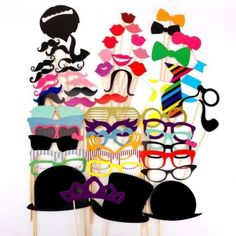 2016 New Photo Booth Props 58Pcs/Set Party Event Supplies Photobooth Mustache Lips Party Mask Wedding Party Decoration