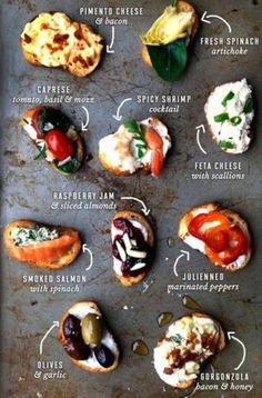 カナッペ、ブルスケッタ、タルティーヌといったパンの上に色々な具材をのせたおつまみもバリエーション豊富さと食べやすさで人気です。
