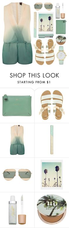 """""""Dorothy Perkins Dip Dye playsuit"""" by thestyleartisan ❤ liked on Polyvore featuring Anya Hindmarch, ASOS, Dorothy Perkins, Christian Dior, Jane Iredale, Urban Decay, Too Faced Cosmetics, Kate Spade, playsuit and romper"""