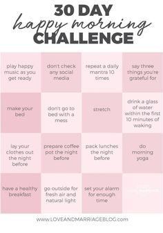30 Day Happy Morning Challenge - self-care // self love - Quotes Health Challenge, 30 Day Challenge, Thigh Challenge, Detox Challenge, Plank Challenge, Monthly Challenge, Challenge Accepted, Vie Motivation, Morning Motivation