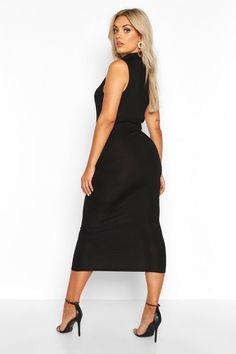 Plus Jumbo Rib High Neck Midi Dress | boohoo