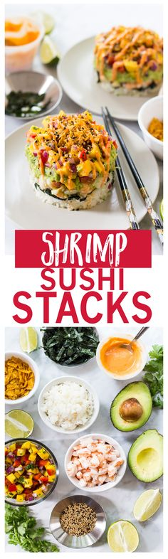 Spicy Shrimp Stacks with Mango Salsa are a fun twist on a spicy California roll, topped with a quick guacamole and drizzled with spicy-sweet Bang Bang sauce! Sushi Recipes, Seafood Recipes, Asian Recipes, Whole Food Recipes, Top Recipes, Healthy Recipes, Shrimp Sushi, Spicy Shrimp, Salmon Sushi