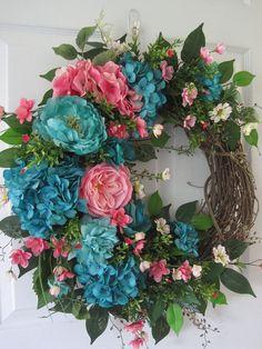 Four Season Wreath, Spring Wreath, Summer Wreath, Four Season Wreath, Front Door Wreath, Home Décor, Garden Wreath, Grapevine Wreath, Handmade Wreath, Custom Wreath. Here we have a beautiful front door wreath, so pretty in shades of pink and turquoise, featuring a grapevine wreath base