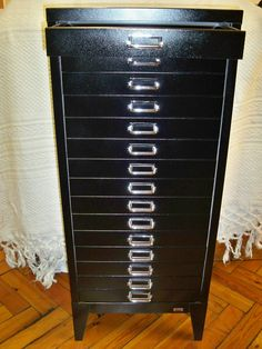 Vintage Stor Filing Cabinet, Refurbished 1950s Stylish 15 Drawer Storage