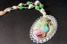 Peacock Necklace. Beaded Necklace. Bird Necklace. Mint Green Necklace. Pink Necklace. Silver Necklace. Handmade Necklace. Handmade Jewelry. by Gilliauna from Bits n Beads by Gilliauna. Find it now at http://ift.tt/2aeO64d!