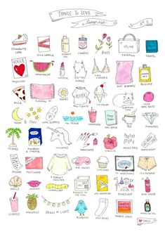Things I Love: A Happy List No.1  Illustrated list