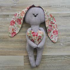 мягкая игрушка заяц из 100% льна и хлопка