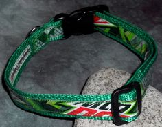 Adjustable Dog Collar from Recycled Mt Dew Soda labels by squigglechick, $18