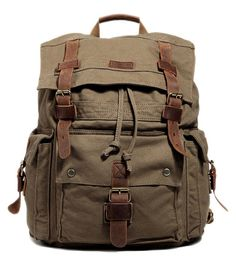 Kattee Men's Canvas Leather Hiking Travel Backpack