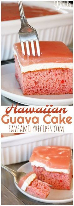hawaiian food recipes Guava cake is a tasty, traditional Hawaiian dessert. It is a guava flavored cake with a whipped cream cheese layer and guava gel glaze. Easy and delicious! Hawaiian Desserts, Hawaiian Dishes, Köstliche Desserts, Delicious Desserts, Hawaiian Food Recipes, Guava Desserts, Ono Hawaiian Food, Tropical Desserts, Plated Desserts