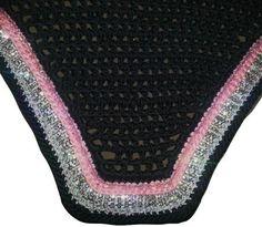 Charcoal De La Coeur bonnet with pink crystals, triple rhinestones and white sparkle thread. www.delacoeur.ca
