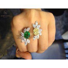 Kareena Nahar   #diamonds #emerald #ring #colombian #yellowdiamonds
