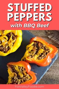 The best way to make these flavorful BBQ Beef Stuffed Peppers is to bake the pepper separately while making the filling on the stovetop. Then you can stuff your peppers, top with cheese, and broil for a couple of minutes, or until the cheese is melted and peppers have a slight char. Your stuffed peppers then can be served whole or sliced in two pepper halves! Best Beef Recipes, Lunch Recipes, Easy Dinner Recipes, Breakfast Recipes, Easy Meals, Barbeque Sauce, Bbq Beef, Homemade Bbq, Stuffed Hot Peppers