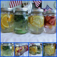 boissons saines dans bocaux couvercles percés + pailles possibilité de préparer la veille !
