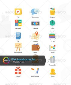 Flat Jewels Icon Set ...  flat icon set, flat icons, icon set, vector icon set, vector icons