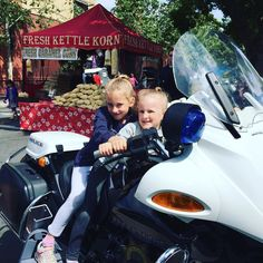 """Downtown Campbell: Sunshine and good times at #BoogieOnTheAvenue today. These sisters said """"I want to be a police officer when I grow up"""" over and over. The sky is the limit!  #girlpower #law enforcement #orchardcityblue #police #communityfirst #publicsafety #bmw by campbellpolice"""