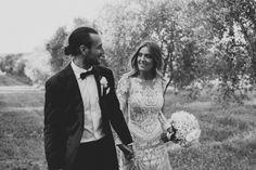 bride + groom couple wedding monochrome lace bouquet inspiration