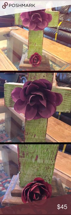 Beautiful handmade cross 11 inches tall, made out of wood and the two flowers are made out of still. The cross is lime green, top rose is a dark lavender and bottom rose is red. Makes a great gift for the home especially someone who loves and collects crosses. Other
