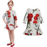 robe fille 2015 summer princess costume girls floral print three quarter sleeve party dress vetement fille dresses for girls