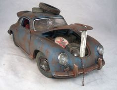 1956 Porsche 356 A Coupe Barn Find Custom Weathered Unrestored SunStar 1/18 #SunStar #1956Porsche356ACoupe
