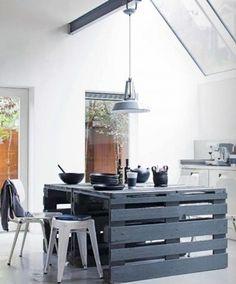 Fabriquer un grand îlot de cuisine avec des palettes