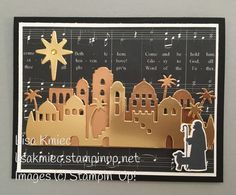 handmade Christmas card: Night in Bethlehem . gold and copper foil die cut townscapres . Stampin' Up! Chrismas Cards, Christmas Cards 2017, Christmas Paper Crafts, Stampin Up Christmas, Christmas Greeting Cards, Christmas Themes, Holiday Cards, Christmas 2019, Handmade Christmas