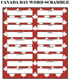 This free printable Canada Day Word Scramble is a fun game for both kids and adults to play. It can be used as a quiet activity at home or as a party game. Canada Day 150, O Canada, Canada Day Crafts, Canada Day Party, Senior Activities, Work Activities, Canada Holiday, Family Fun Night, Free Mom