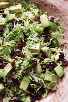 Shredded Brussels Sprouts Salad with Cranberries and Avocados!