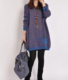 Blue sweater dress Knitwear large size sweater cotton sweater knitted sweater long women cotton dress plus size sweater blouse sweater tops