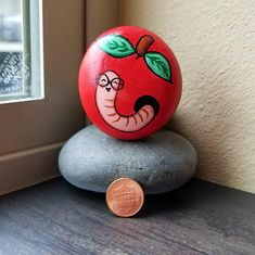 Worm in Apple (Rock Painting)