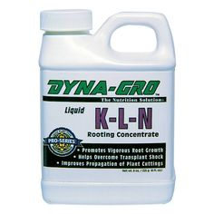 Dyna-Gro K-L-N Rooting Concentrate 8oz - Promotes vigorous root growth in trees, foliage and flowering plants. Use for propagating cuttings, air layering, and as a transplanting drench for newly-potted plants. Drench, dip or mist plants with K-L-N to stimulate new root growth. Highly recommended to increase production of cuttings.