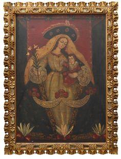 """ESCOLA CUSQUENHA - """"Nossa Senhora com Menino Jesus"""", O.S.T. Ricamente emoldurado em madeira"""