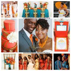 Teal, Orange and gold wedding color scheme....