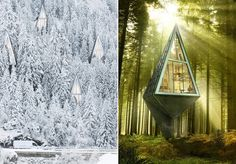 Pointy Octahedron Micro Home 'Broods Over the Forest' http://curbed.com/archives/2013/10/21/heres-an-octahedron-abode-that-broods-over-the-forest.php