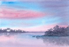 SUNRISE river watercolor original SALE | eBay