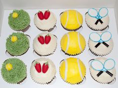 Wimbledon tennis themed cupcakes - Beach House Bakery - cakes and cupcakes Bristol & The West Country