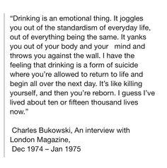 Drinking. Charles Bukowski.