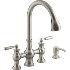 KOHLER Capilano Bridge Farmhouse Pull-Down Kitchen Faucet with Soap Dispenser and Sweep Spray in Vibrant Stainless - The Home Depot Kitchen Faucets Pull Down, Black Kitchen Faucets, Kitchen Fixtures, Kitchen Sink, Kitchen Cabinets, Drop Leaf Kitchen Island, White Kitchen Cart, Farmhouse Faucet, Home Depot Kitchen