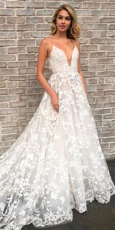 Sexy V-neck Spaghetti Straps Long Cheap Lace Wedding Dresses with Pockets b7ea4c62f508