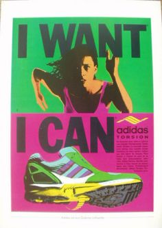 Vintage French Paper Ad 1989 Adidas Shoes I Want I Can Pubs | eBay