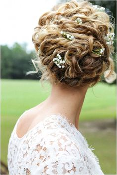 Wedding hair inspiration: vintage lace, loose updo, babies breath
