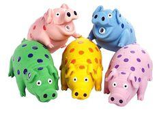 "Multi Pet Latex Polka Dot Globlet Pig Dog Toy Assorted Colors 9"""