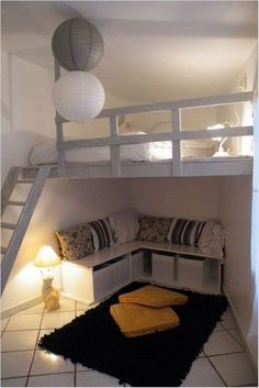Loft room - 54 lovely dorm room organization ideas on a budget 24 Loft Room, Bedroom Loft, Dream Bedroom, Bedroom Decor, Mezzanine Bedroom, Warm Bedroom, Loft Bed Room Ideas, Master Bedroom, Bedroom Storage