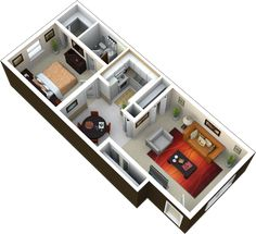 1 bedroom 1 bath 700 sq ft this is a great floor plan with l Small House Plans, House Floor Plans, House Floor Design, 1 Bedroom House, Studio Apartment Layout, Bedroom Night Stands, Narrow House, Home Design Plans, House Layouts