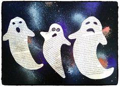 Feuille noire mouchetée et collage de fantômes en papier journal Art Plastique Halloween, Bricolage Halloween, Activities For Kids, Crafts For Kids, Collage, Halloween Kids, The Darkest, Snoopy, Deco