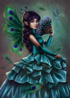 LOVE the idea of peacock fairies! === peacock fairy by anako-art. Fairy Dust, Fairy Land, Fairy Tales, Fairy Pictures, Angel Pictures, Digital Art Gallery, Online Art Gallery, Magical Creatures, Fantasy Creatures