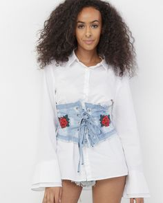 ⚪️The title says it all so Enjoy⚪️ Denim Corset Belt, Diy Corset, Kylie Jenner Corset, Distressed Denim, Overall Shorts, Sustainable Fashion, Stylish Outfits, Embroidered Roses, Fashion Design