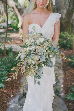 I'm in a leafy bouquet phase right now. I love to see bouquets that stand out a bit from the traditional floral bouquet. Beach Wedding Bouquets, Rose Wedding Bouquet, Beach Wedding Photos, Bride Bouquets, Bridal Flowers, Floral Wedding, Rustic Wedding, Wedding Dresses, Herb Wedding Centerpieces